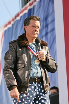 Colbert at the Rally to Restore Sanity and/or Fear in 2010, which attracted over 215,000 people.[109]