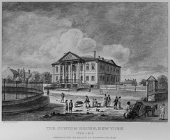 Government House as the Custom House, 1799–1815, Bowling Green shown on the left