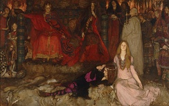 Hamlet reclines next to Ophelia in Edwin Austin Abbey's The Play Scene in Hamlet.