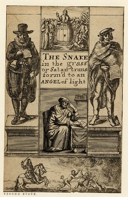 The Snake in the Grass or Satan Transform'd to an Angel of Light, title page engraved by Richard Gaywood, ca. 1660