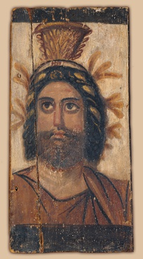 Painted wood panel depicting Serapis, who was considered the same god as Osiris, Hades, and Dionysus in Late Antiquity. 2nd century AD.