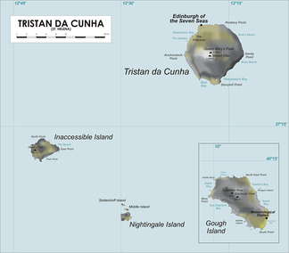 Map of Tristan da Cunha showing the Nightingale Islands and Inaccessible Island.