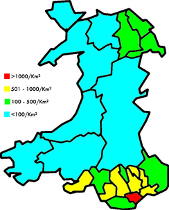 Population in Wales is concentrated in the South Wales Valleys and the northeast; the remainder of Wales is sparsely populated