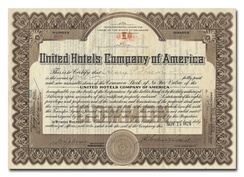 """United Hotels Company of America"" Stock Certificate"