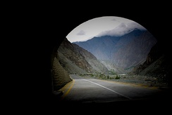 A view of Jaglote, Gore, from a tunnel on Karakoram Highway.