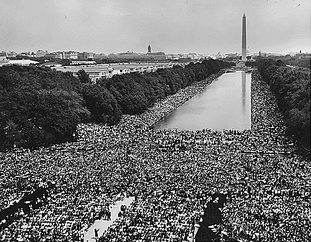 The 1963 March on Washington for Jobs and Freedom on the National Mall facing east from the Lincoln Memorial