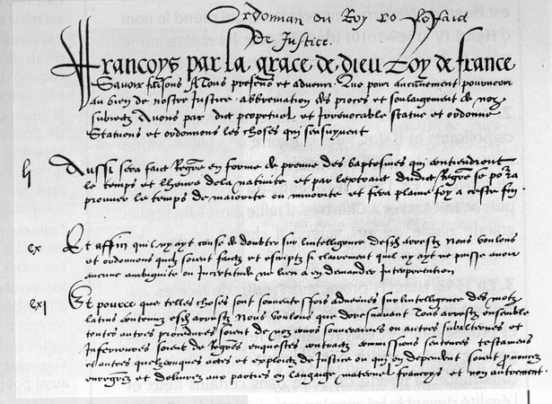 The first manuscript page of the Ordinance of Villers-Cotterêts, 1539