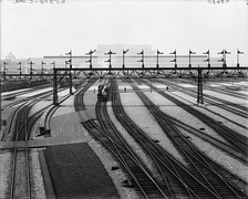Trains at the station shortly after its completion, circa 1908