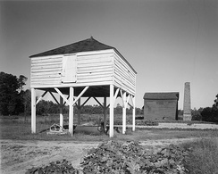 Winnowing barn (foreground) and rice pounding mill (background) at Mansfield Plantation near Georgetown, South Carolina