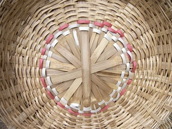 Woven bamboo basket for sale in K. R. Market, Bangalore, India