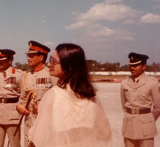Khaleda Zia as Bangladesh's first lady during the Ziaur Rahman period (1977-1981). Bangladesh has been ruled by Zia and another female politician – Sheikh Hasina – ever since the restoration of democracy in 1991, a unique record in the contemporary world.[459]