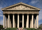 The Madeleine Church in Paris. The sculpture from the pediment (1830-1837) by Pierre-Jean David depict St Geneviève[6]