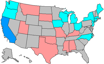 Change in House seats by party      3 to 5 Democratic gain         1 to 2 Democratic gain    1 to 2 Republican gain     no net change