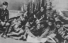Nestor Makhno (center in black) with members of the anarchist Revolutionary Insurrectionary Army of Ukraine