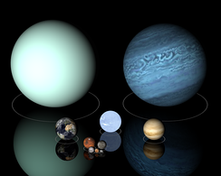 Planets from Venus up to Uranus have diameters from ten to one hundred million metres. Top row: Uranus (left), Neptune (right); middle row: Earth (left), Sirius B (center), and Venus (right), to scale