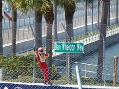 Hélio Castroneves, pictured here on the fence after winning the 2012 Honda Grand Prix of St. Petersburg, climbed the fence for the first time after winning the 2000 Grand Prix of Detroit.