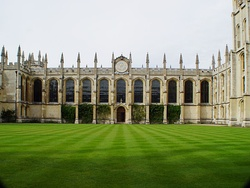 All Souls College. Though 'gothick' externally, this range designed by Nicholas Hawksmoor is completely classical inside.
