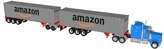 Amazon 40' container turnpike double, a long combination vehicle