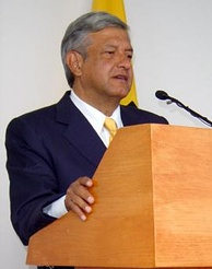 López Obrador during a speech in October 2005