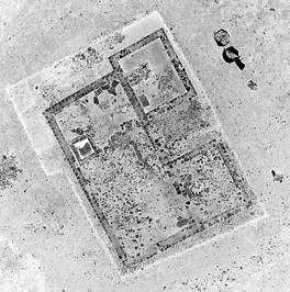 Inverted kite aerial photo of an excavation of a Roman building at Nesley near Tetbury in Gloucestershire.