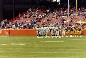 The Rams hosting a football game at Anaheim Stadium, 1991.