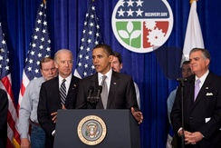 President Barack Obama speaks about the 2,000th project approved through the ARRA. The president is joined by Vice President Joe Biden and Secretary of Transportation Ray LaHood.