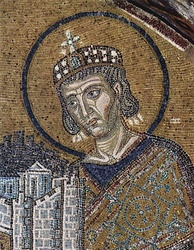 Constantine the Great summoned the bishops of the Christian Church to Nicaea to address divisions in the Church (mosaic in Hagia Sophia, Constantinople (Istanbul), ca. 1000).