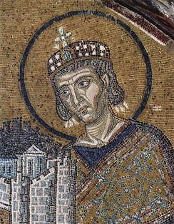 Emperor Constantine presents a representation of the city of Constantinople as tribute to an enthroned Mary and baby Jesus in this church mosaic (Hagia Sophia, c. 1000)