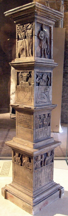 Model reconstructing the Pillar of the Boatmen in the Musée de Cluny, Paris. After 14 AD.