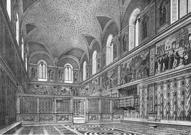 Интерьер Сикстинской капеллы около 1481 года. Реконструкция. Гравюра XIX века
