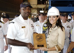 Miss USA 2005 Chelsea Cooley at the christening of the USS North Carolina submarine in 2005
