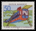 German stamp from 1976 to commemorate 75 years of the Schwebebahn