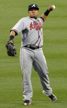 Cabrera playing for the Atlanta Braves in 2010