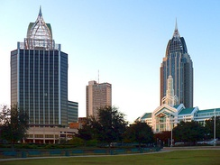Downtown in 2008, as seen from Cooper Riverside Park. Buildings include (L to R): Renaissance Mobile Riverview Plaza Hotel, RSA–BankTrust Building, Arthur C. Outlaw Convention Center, and the RSA Battle House Tower.