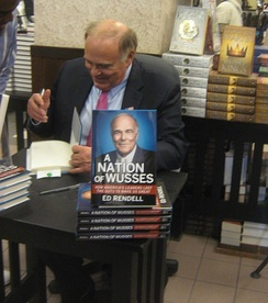 Rendell signing his book