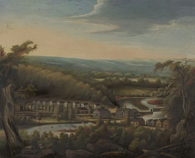 An 1827 painting of Whitneyville by William Giles Munson.