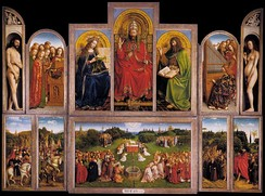 The Ghent Altarpiece: The Adoration of the Lamb (interior view) painted 1432 by Jan van Eyck