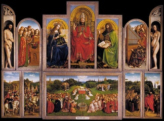 Opened view of the Ghent Altarpiece: Jan van Eyck (1432).  There is a different view when the wings are closed.