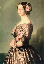 Francisca of Brazil, Princess of Joinville, wearing a pink gown decorated with pink roses, 1850s. Painting by Franz Xaver Winterhalter.
