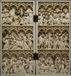 French Gothic diptych, 25 cm (9.8 in) high, with crowded scenes from the Life of Christ, c. 1350–1365.