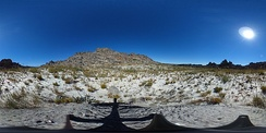 A 360 degree photograph of fynbos in the Groot Winterhoek section of the Cape Fold Mountains about 18 months after a fire.  New plants can be seen in various stages of growth following the fire.  The infertile white soil that fynbos tends to grow in can also be clearly seen.