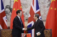 On 15 October 2013, the British Chancellor of the Exchequer George Osborne announces that the pound sterling and the renminbi will be traded directly in London and Shanghai.[64]