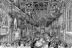 This 1863 gathering at Guildhall was attended by Queen Victoria. The roof shown here has been replaced, but the hammerbeam design was not retained.