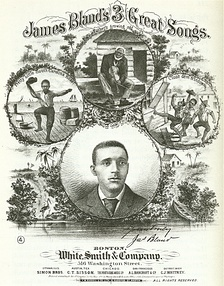 "Sheet music cover for ""James Bland's 3 Great Songs"", 1879."