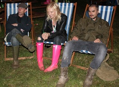 Steve Lamacq, Jo Whiley and Zane Lowe at Glastonbury as part of Radio 1's coverage
