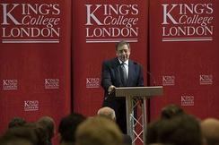 Panetta giving his farewell speech to Europe at King's College London in January 2013.[50]