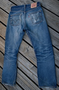 A pair of Levi's 501 raw jeans