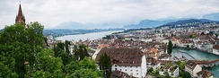 Lucerne city, lake and mountains view from the tower