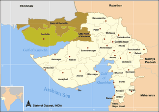 Map of Gujarat showing the Little Rann of Kutch and Great Rann of Kutch