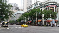 The Magnificent Mile hosts numerous upscale stores, as well as landmarks like the Chicago Water Tower